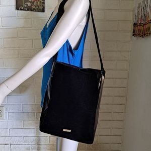 Carolina Herrera black velvet shoulder bag